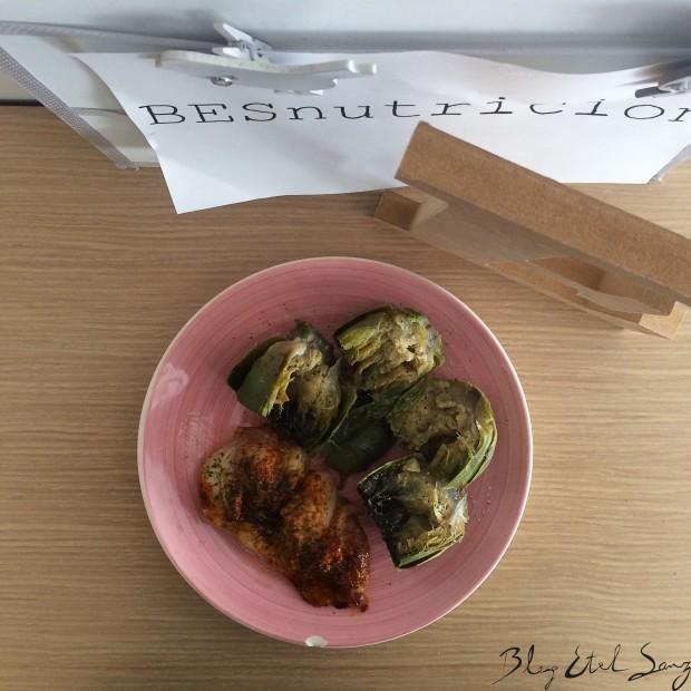 Pollo al horno con alcachofas