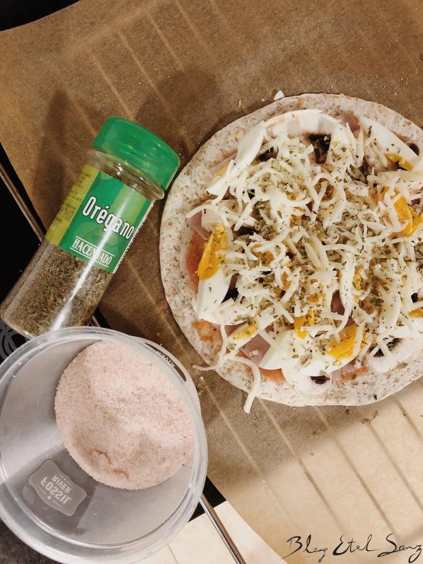 Pizza con tortitas integrales